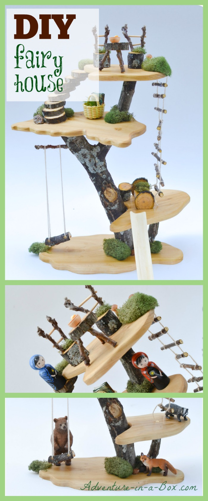 How to make a toy tree house with simple tools and natural materials ...