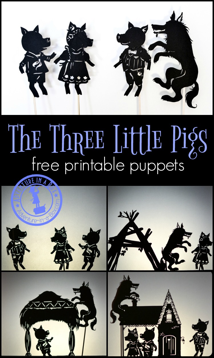 The Three Little Pigs: free printable shadow puppets. Print, cut and stage a shadow puppet show with your kids!