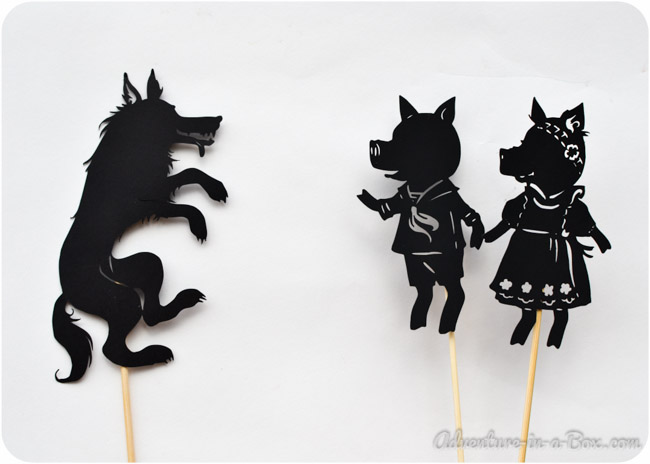 Guest post three little pigs shadow puppet play with for The three little pigs puppet templates