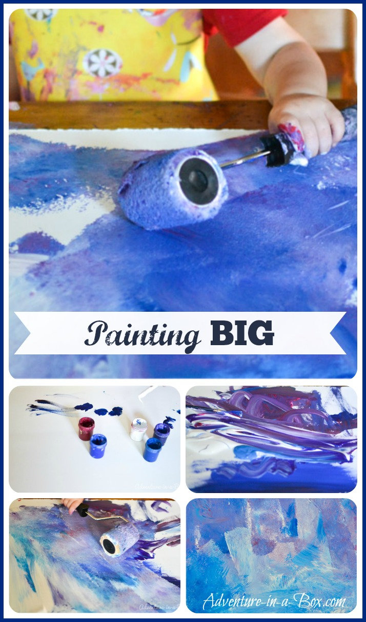 Painting Big with Toddlers || Have an unforgettable art experience and make a big painting together! || Adventure in a Box