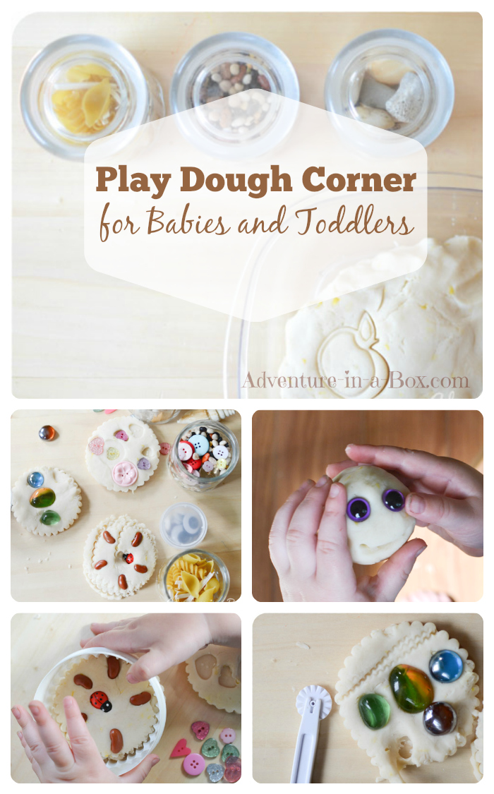 Play Dough Corner for Babies and Toddlers || How to introduce playing with play dough to babies and toddlers, using open-ended materials || Adventure in a Box