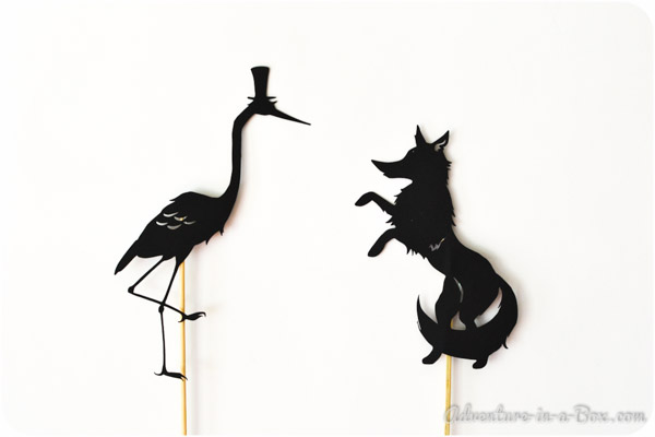 {Guest Post} The Fox and the Crane: Shadow Puppets with Printables