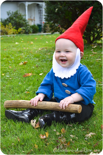 Quick and easy halloween costume idea garden gnome for Homemade halloween costumes for little boys