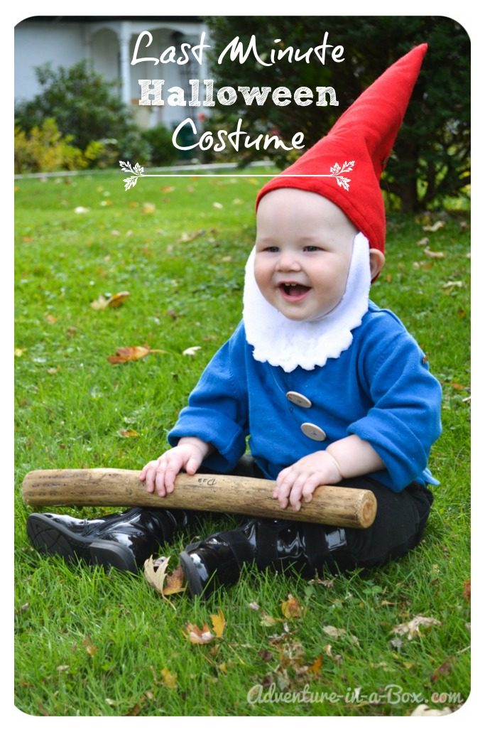 Quick and easy halloween costume idea garden gnome for Quick halloween costumes for toddlers