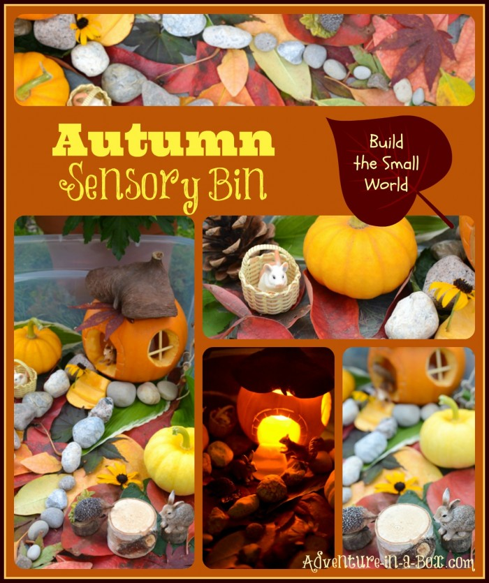 Autumn Sensory Bin: Building a Small World with Carved Pumpkins, Pine Cones, and Leaves