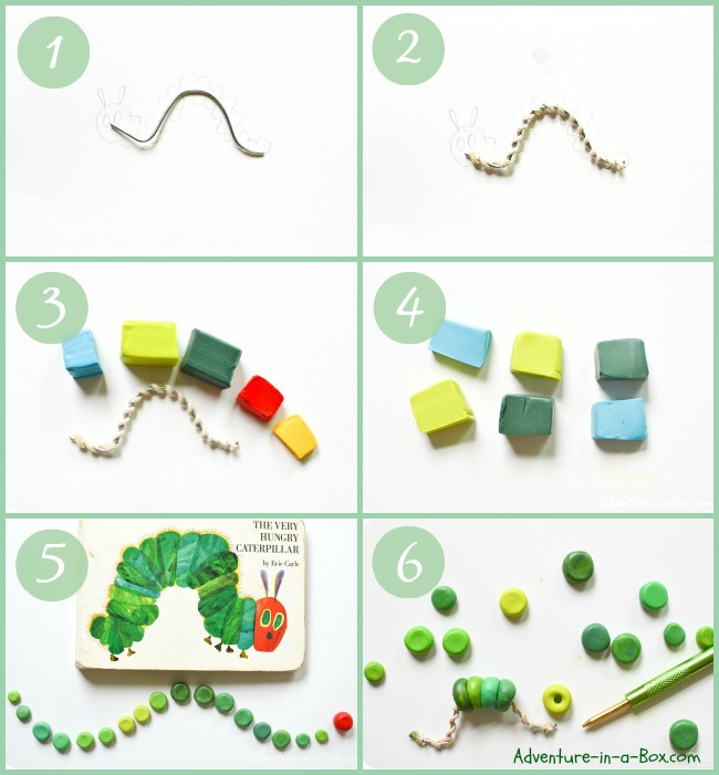 The Very Hungry Caterpillar Craft: DIY tutorial on how to make the very hungry caterpillar with polymer clay