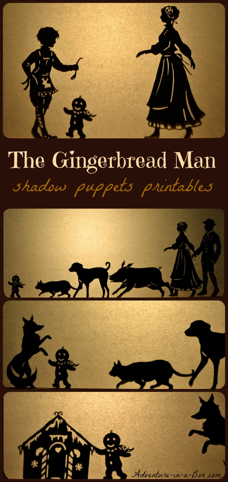 The Gingerbread Man: winter shadow puppets play for children (free printable designs included)