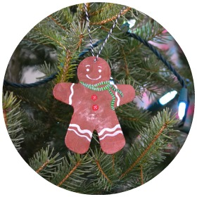 Baby's First Christmas Craft: a cute and simple gingerbread man ornament for a Christmas tree decoration - children of all ages can make it!