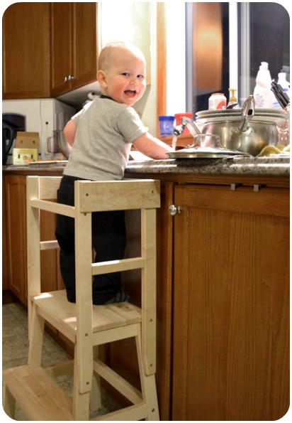 Best Toys for One-Year-Olds: learning tower from the Ikea stool