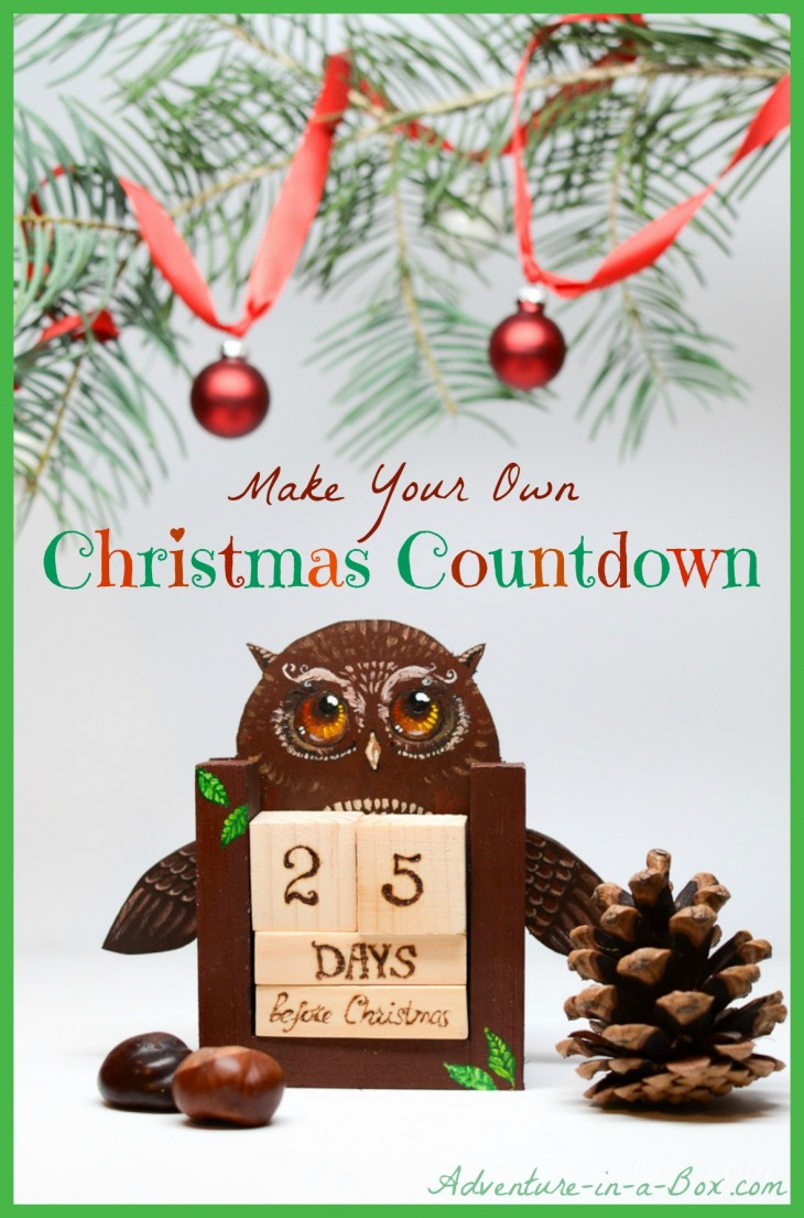 Make a countdown calendar with wooden blocks for Make your own christmas countdown calendar
