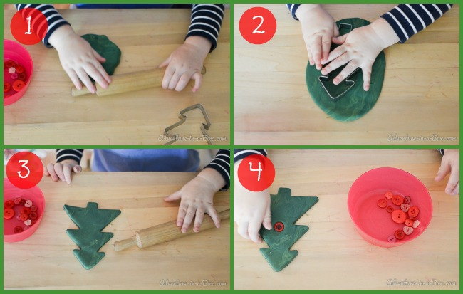 Christmas Tree Clay Ornament: how to use air-dry clay to make simple and cute Christmas ornaments with toddlers