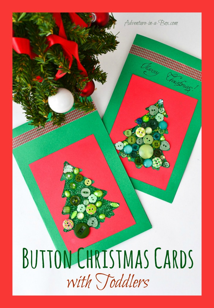 Button Christmas Cards with Toddlers: kids of different ages can participate in this Christmas craft