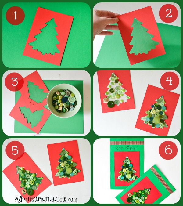 Christmas Craft Ideas For Preschoolers To Make Part - 26: Button Christmas Cards With Toddlers: Kids Of Different Ages Can  Participate In Making This Christmas