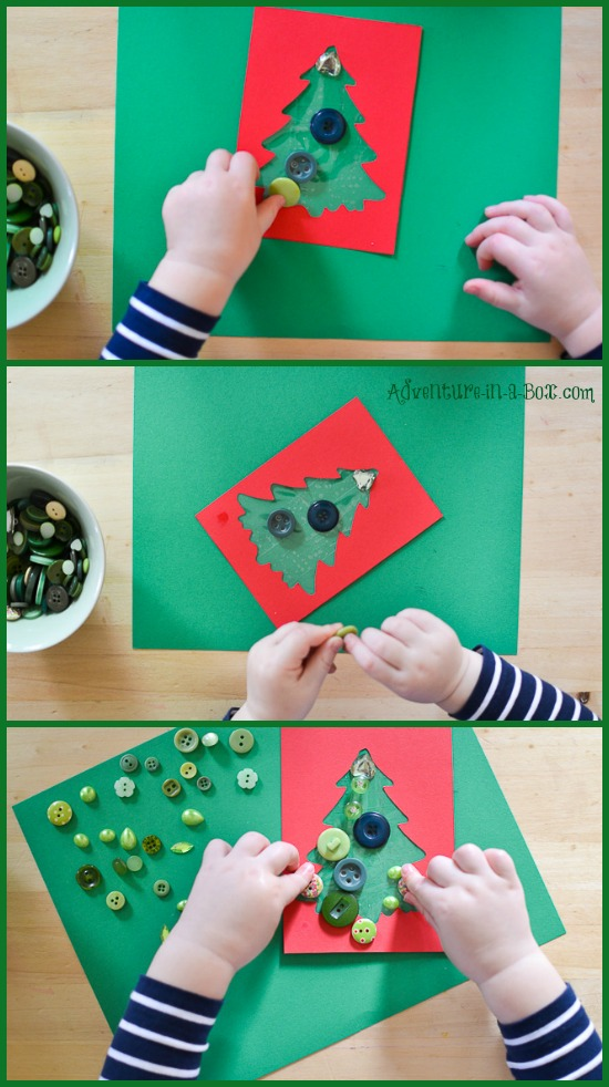Making christmas cards with toddlers button christmas cards with toddlers kids of different ages can participate in making this christmas solutioingenieria