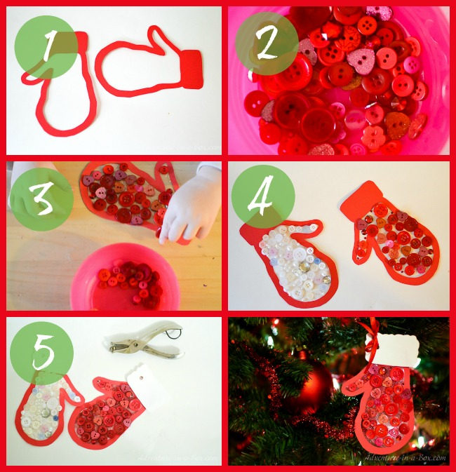 mitten quick and simple button craft for toddlers that can be turned into a christmas