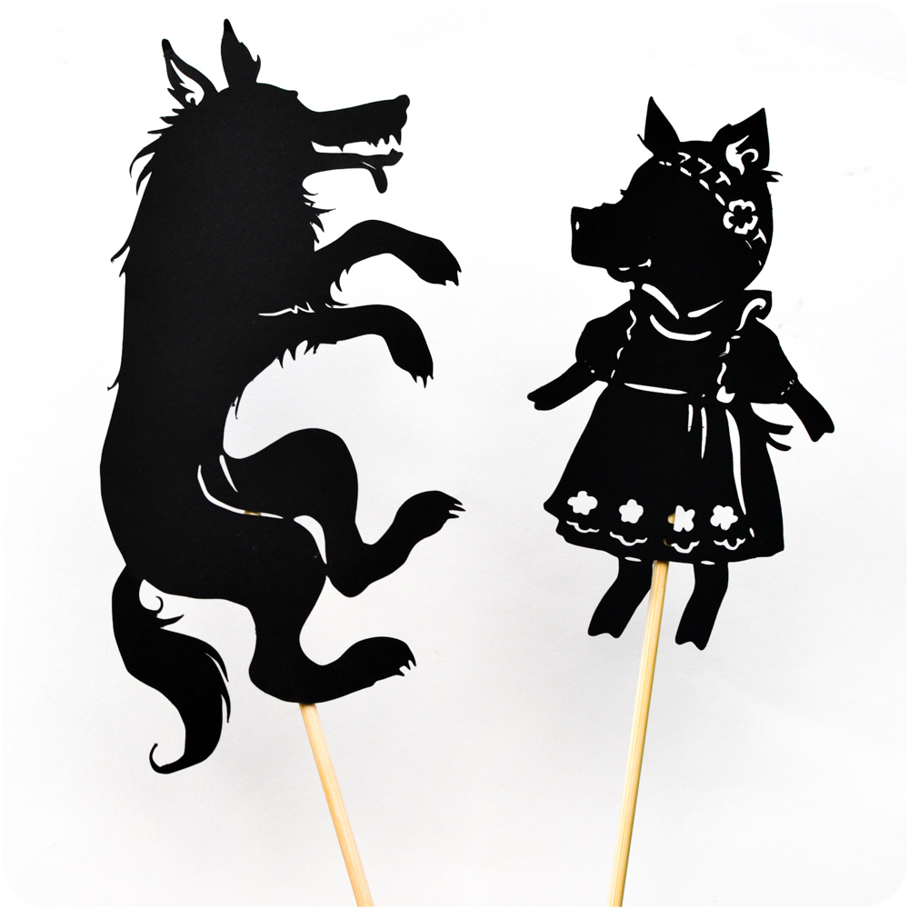 Three little pig shadow puppet printables adventure in a box for Free shadow puppet templates