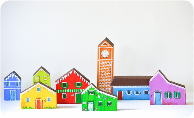 DIY House Blocks: Build a Rainbow City Around Your Railroad