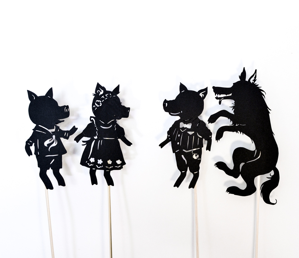 Three little pigs shadow puppet play with free printables for The three little pigs puppet templates