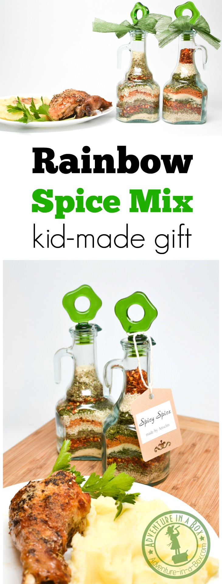 Rainbow Spice Mix: kid-made gift idea and practising pouring skills for toddlers - two simple kid activities in one!
