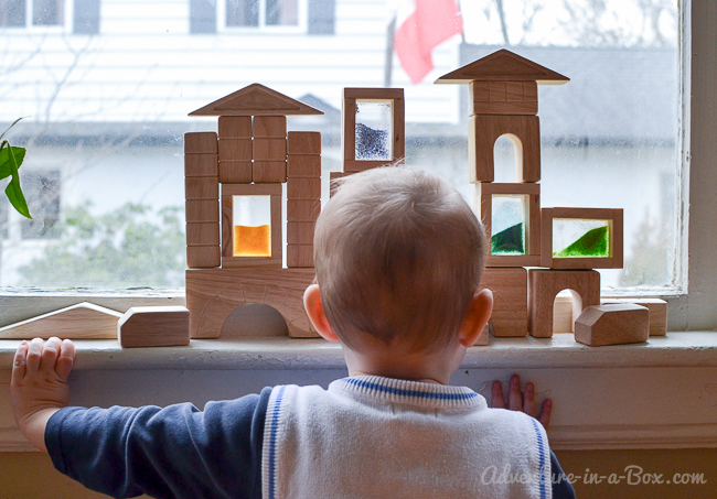 Rainbow Sand Blocks: Playing on the windowsill!