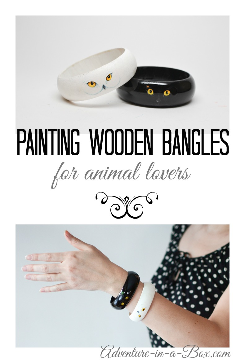 Painting Wooden Bangles for Animal Lovers: If you like to express your style through unique jewelry, you should try this craft tutorial on how to turn plain wooden bracelets into a stylish piece of handmade jewelry. Fun craft for kids or a quick DIY project for adults!