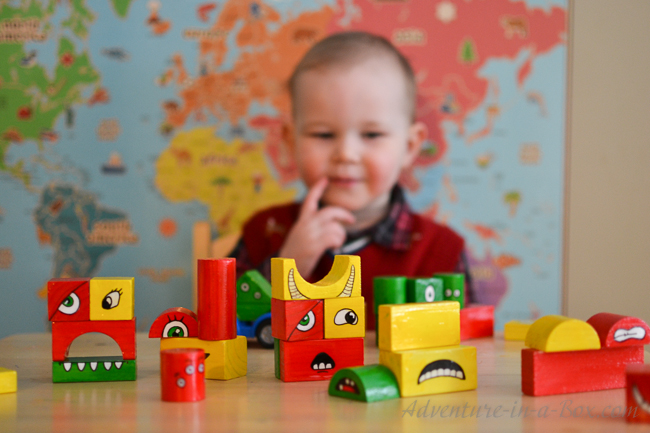 Make-a-Monster DIY Toy: Give a makeover to old wooden blocks and turn them into monster blocks! Toddlers will laugh themselves silly playing with this homemade toy, and older kids will enjoy helping with the creation of monster parts.