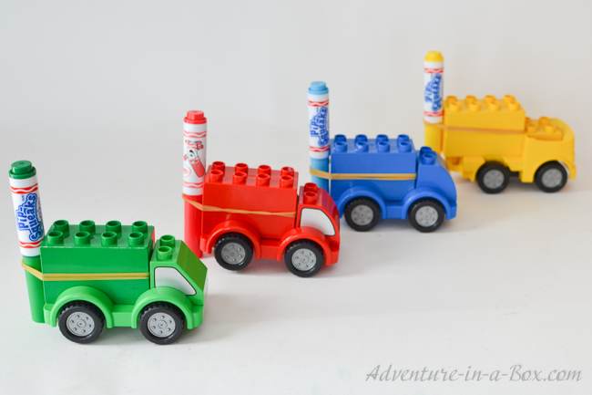 Turn Lego Cars into Doodle Cars: A simple project that young engineers will love. Kids can create whimsical drawings, then have a colourful race!