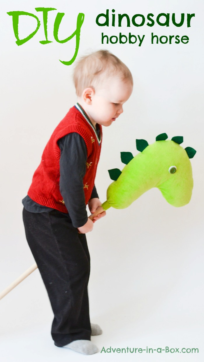 Dinosaur Hobby Horse DIY Project: What kid hasn't dreamed of riding a dinosaur? With this simple DIY tutorial of a dinosaur hobby horse, this dream can come true.