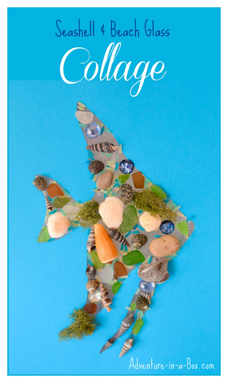 Seashell and Beach Glass Collage for Kids: a natural craft project that will make use of all of your little seaside finds!