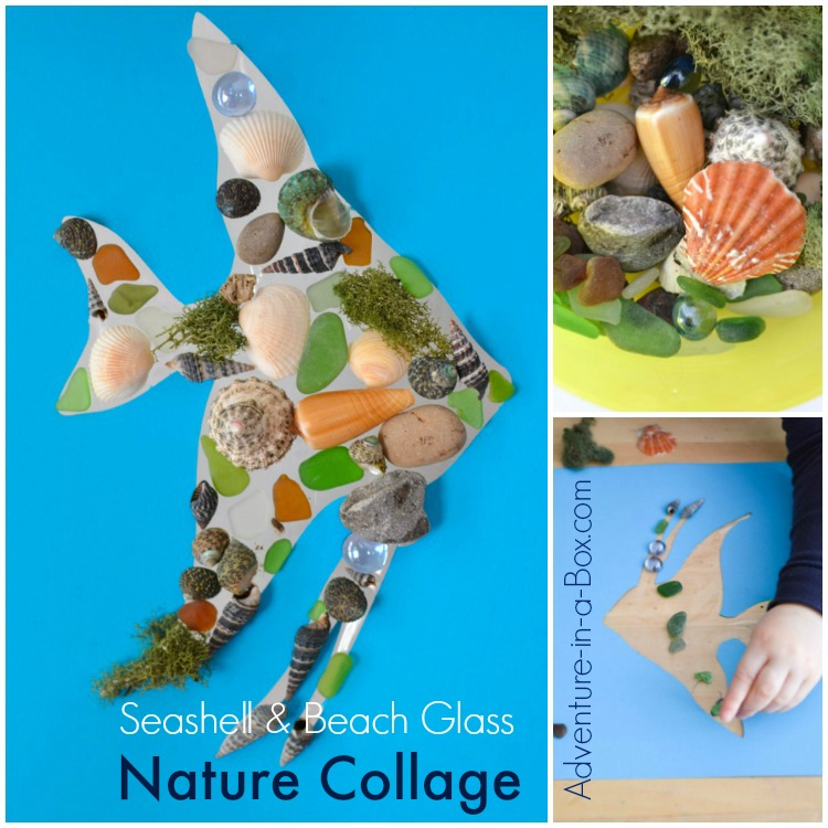 After spending a day on the beach, make a vacation keepsake with kids by turning all of their nature finds into a seashell, rocks and beach glass collage!