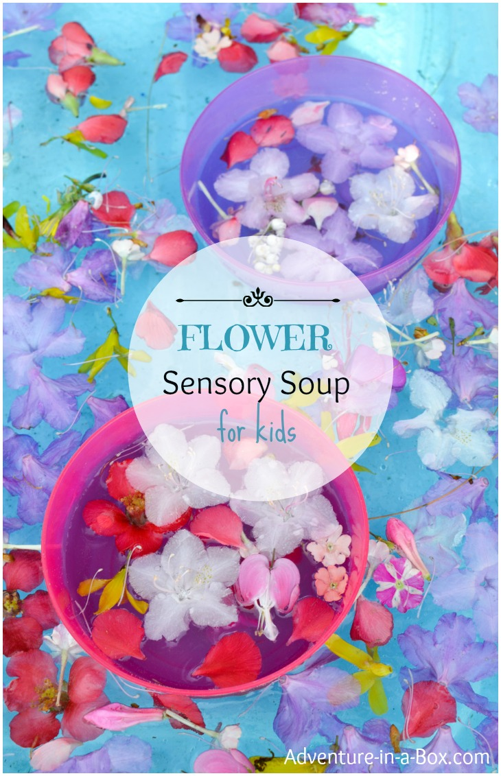 Flower Sensory Bin for Kids: Collect flowers and make summer sensory soup, or jump right in the bin, splashing petals around! Simple activity to celebrate beauty of nature with kids.