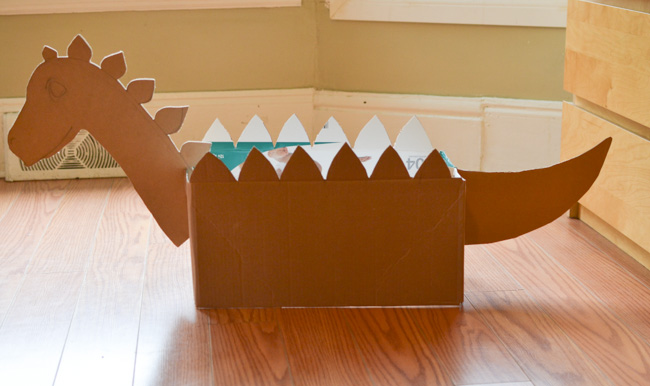 Diy cardboard box dinosaur for How to make a letterbox out of cardboard