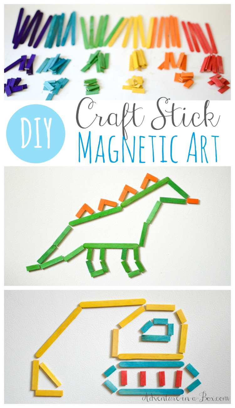 Make magnetic craft sticks and have a craft stick art exhibit on your fridge. Once the project is finished, the sticks pack into a box, and it can become a fun activity on the go for kids.