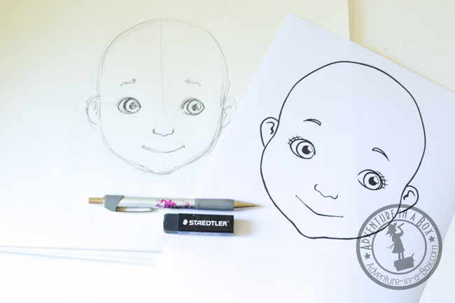 Sketching the designs for food face plates.