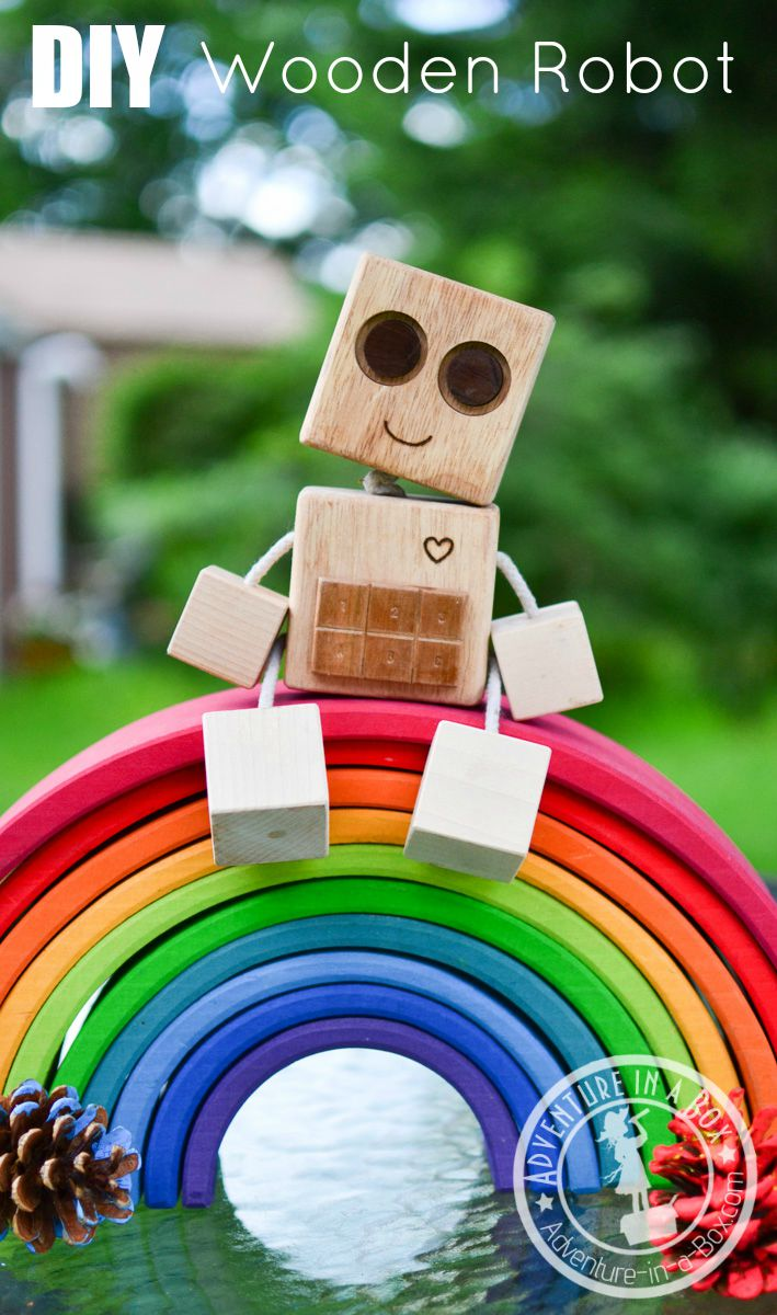 Do you want to make a wood robot toy? Or maybe looking for the first woodworking project for kids? Try this one!