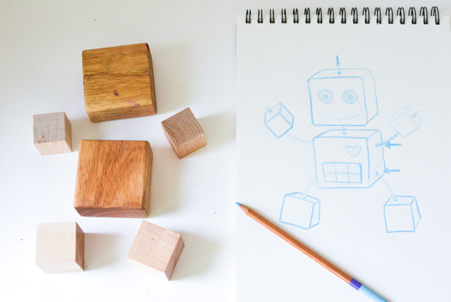 Wood Robot Toy Sketch