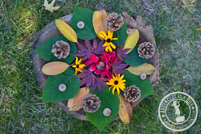 Nature Art: Create abstract autumn designs on a rustic stump in the backyard!
