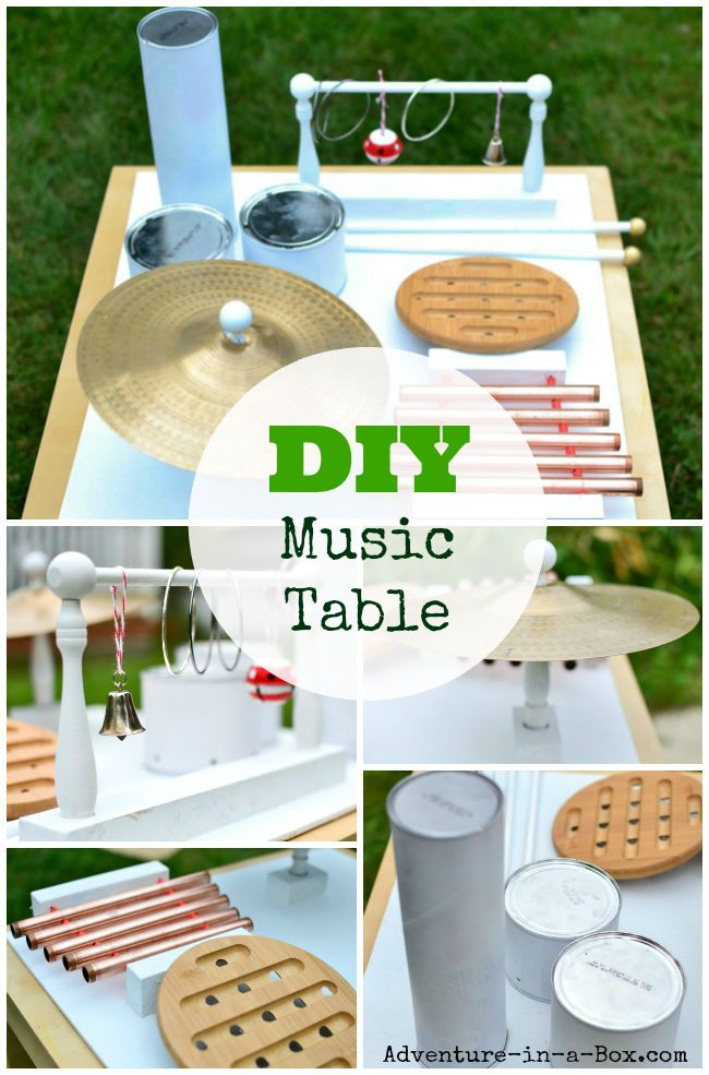 DIY Music Table from Recyclable and Household Materials: A great handmade toy for exploring music with kids!