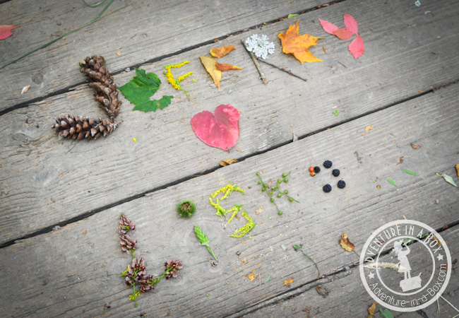 Name Writing Nature Hunt: Make your time outdoors special and craft your names with natural materials! An idea for an outing with kids or your partner if you both feel like having some innocent romantic fun.