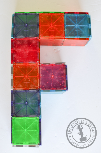 Magna-tiles Alphabet Printable Cards: 3D alphabet idea