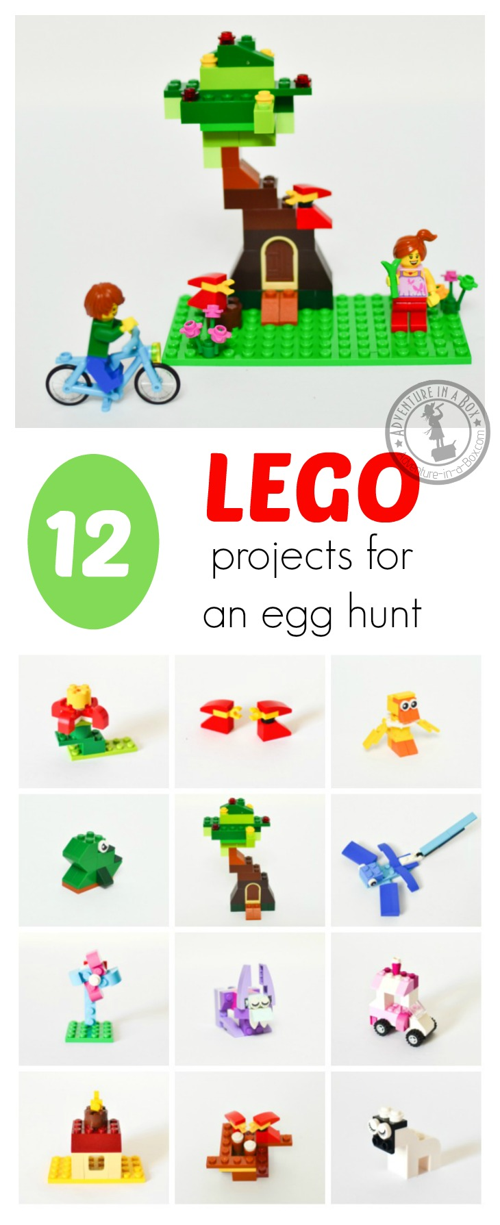 12 Small Spring Lego Projects: A delightful alternative to candies in filling Easter eggs and baskets for an Easter hunt! Free printable instructions are included.