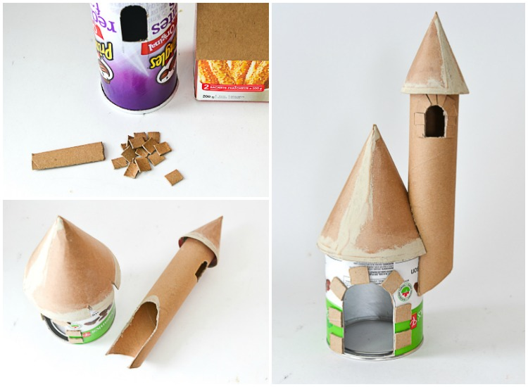 DIY Make a Cardboard Castle from Recyclables: Assembling the castle.