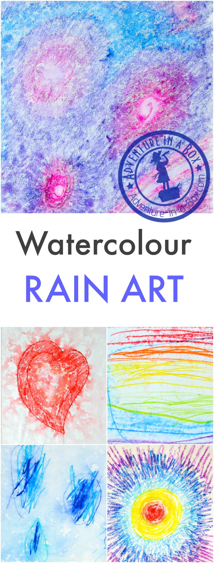 On a rainy day, grab watercolour pencils, then go outside and make rain art together with kids! Making rain paintings is a great summer and fall activity.