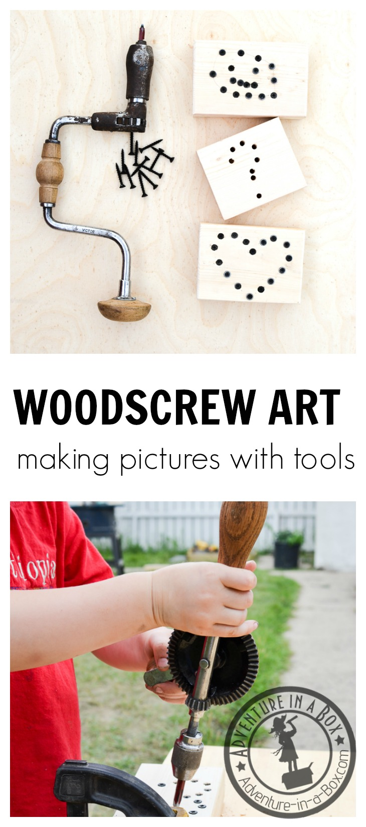 Woodscrew Art: Introduce children to screwdriving tools while making rustic and quirky woodscrew art. Simple Montessori-inspired steps. Great crafting fun for little tinkerers!