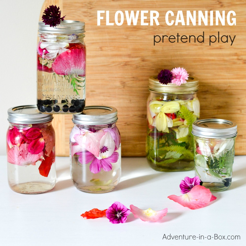 Flower Petal Canning: Fun pretend play activity for kids to enjoy in the summer or fall!