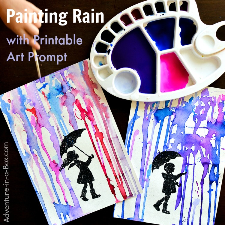 Painting Rain with a Printable Art Prompt: What is the colour of rain? Give these printable art prompts to children along with watercolour paints and find out! It's a great rainy day activity for kids.