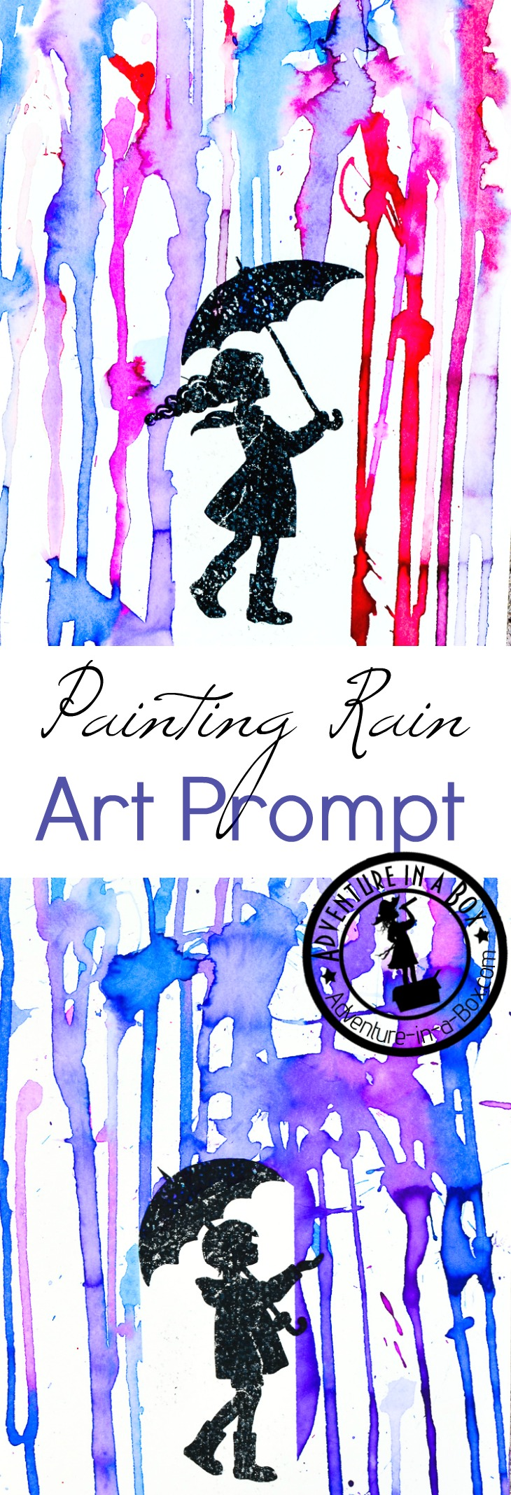 Painting Rain with a Printable Art Prompt: What is the colour of rain? Give these printable art prompts to children along with watercolour paints and find out! It's a great rainy day art project for kids.