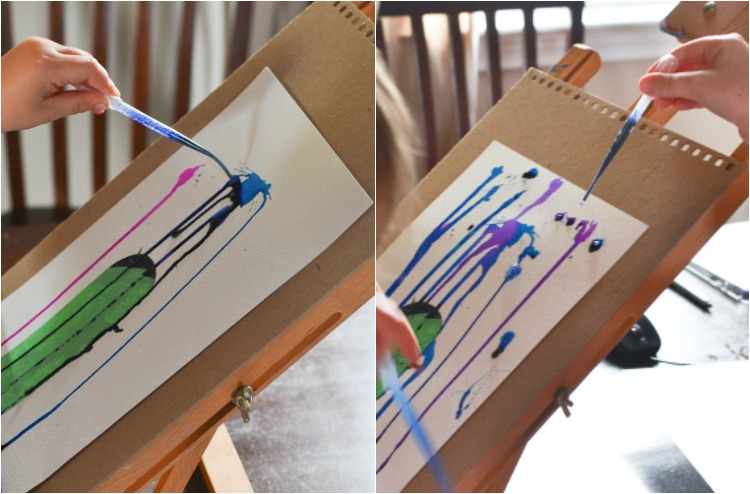 Painting Rain with a Printable Art Prompt: Use pipettes or brushes.
