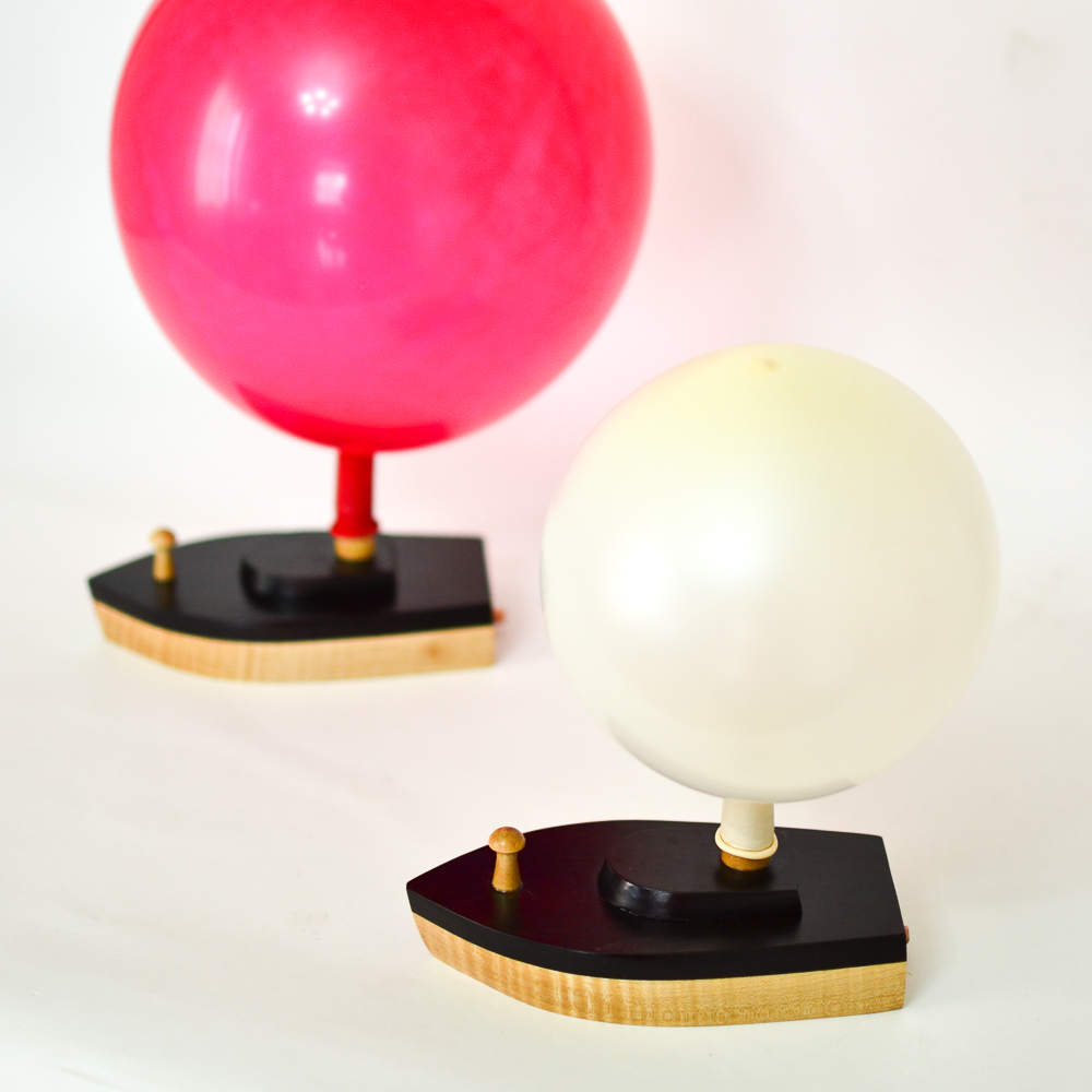 Balloon Powered Wooden Toy Boat 2 Small Racing Boats