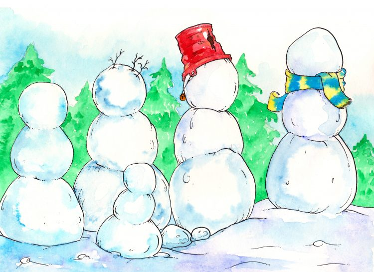 Snowmen Art Prompt: Free Printable Mat!